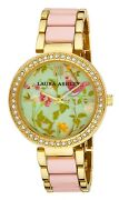Laura Ashley Womenand039s Duck Egg Floral Crystal Bezel Watch Comes In A Gift Box