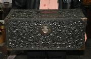Old Dynasty Palace Rosewood Wood Carved Dragon Totem Storage Box Treasure Chest