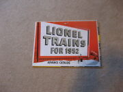 1952 Lionel Advnce Catalog Reprinted Front Cover Very Good