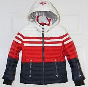 Bogner Girls Sina-d Down Ski Jacket - Size Medium 8 - Red Navy White - New