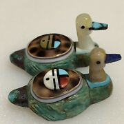 Zuni Ducks Fetish Carved Shell Turquoise By Darrin Boone Pair Decoys F4520