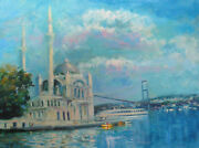 Listed American Artist Nino Pippa Painting Of Istanbul Ortakoy Mosque Coa18x24