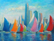 Listed Artist 18x24 Nino Pippa Original Oil Painting Chicago Sailboat Race