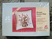 Vintage 70's Lee Wards Crewel 14 By 14 Winsome Raccoon Pillow Kit   1399 S
