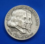 Anniversary Of Maryland 350th 1634-1984 Cecil And George Calvert Silver Coin Mint
