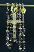 Large French Antique Rosary Silver Vermeil Purple Crystal All Caped Signed