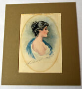 Antique 1915 Watercolor Signed Charles Dana Gibson Victorian Girl Portrait