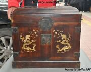 Huge Old Huanghuali Inlay Shell Dragon Drawer Cabinet Treasure Chest Storage Box