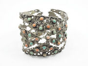 Antique Chinese Silver Adorned With Coral And Turquoise Cuff Bracelet