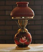 Beautiful Antique Electrified Student Lamp With Red Font And Shade E101
