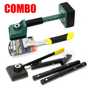 Combo Carpet Hammer Tacker Stapler And Lever Action Stretcher And Knee Kicker Set