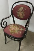 Antique Bentwood Chair With Arms Pink Roses Needlepoint Seat Back Armchair