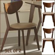 Set Of 2 Dining Mid-century Wood Chairs Retro Modern Off-white Upholstered Chair