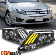 10-12 Ford Fusion Projector Headlights W/led Sequential Turn Signal 2010-2012