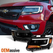 Fits [black Smoke] 15-21 Chevy Colorado Led Drl Dual Square Projector Headlights