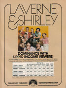 Laverne And Shirley 1978 Ad- Dominance With Upper Income Viewers Paramount