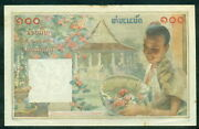 French Indochina Laos Issue 100 Piastres Nd 1953 Pick 103 Xf+ Rare