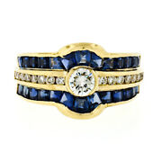 Estate 18k Yellow Gold 3.00ctw Diamond And Calibre Sapphire Channel Wide Band Ring