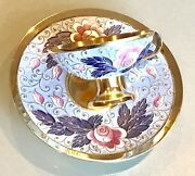 Vintage 1960' Russian Silver 925 Enamel Cup And Plate Gold Wash Weight 345 Grams