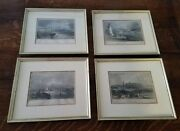 Lot Of 4 Framed Antique 1830s Nautical/marine Themed English Prints Hand-painted