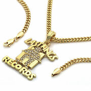 Menand039s 14k Gold Plated Last Kings Records Pendant Hip-hop 30 Cuban Chain