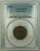 1864 Small Motto 2c Two Cent Piece Pcgs Xf-40 Gkg