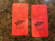 2x 1986 Mets V Red Sox World Series Nbc Tv Press Box Pass Unpunched