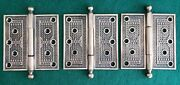 Awesome Set Of 3 Big Heavy Antique Bronze Brass Door Hinges 6 By 6 Inches