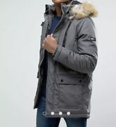 Menand039s Gray Heavy Duty Coat With Faux Fur Trimmed Hood Size Xs