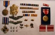 Group Military Air Force Medals Pins Flying Cross Etc. Inc Sterling Silver