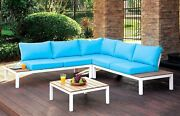 Bailey Plank Style Outdoor Patio Sectional Sofa Whiteandblue Accent Table Brown