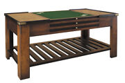 47 Game Table W/brass Accents In Black And Cherry Honey Finish Brown Red