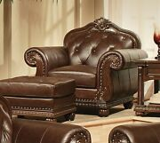Armchair Antique Style Tufted Dark Brown Genuine Top-grain Leather And Wood Chair