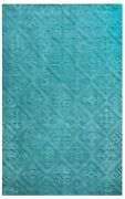 Rizzy Home Technique Wool Cotton Rectangle Area Rug 9 X 12and039aqua Blue Green Solid