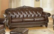 Button Tufted Sofa Antique Style Genuine Top-grain Leather Couch Dark Brown Wood