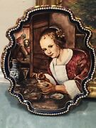 Delft Pottery Wall Plaque Of Jan Steen's Girl Eating Oysters Rare Find