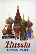 Pan Am Airways Airlines Russia Vintage Travel Poster 1969 28x42 Nm Linen