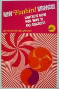 United Airlines Funbird Service Vintage Travel Poster 1967 25x40 Nm Linen