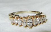 14k Gold Diamond Ring With 9 Stones And Stretch Band Very Beautiful Antique Wow