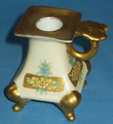 Antique Vienna Austria Hp Candlestick Footed W/handle Signed A.e.b. 3 1/2h