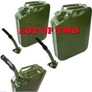 Lot Two 5 Gallon Jerry Can Gas Fuel Steel Tank Green 20l Storage Refill Can Jeep