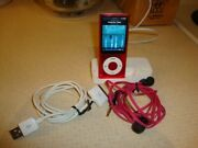 Apple16gb Ipod Nano Pink Bundle With Pink Earbuds Charging Stand Mc075ll 4th