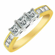 1.30 Cts Princess Cut Natural Diamonds Three-stone Ring In Solid 18k Yellow Gold