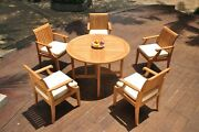 A-grade Teak 6pc Dining 48 Round Butterfly Table 5 Lagos Arm Chair Set Outdoor