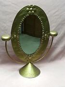 19 Tall Vintage Gold Painted Tin Art Oval Pedestal Mirror Made In Mexico