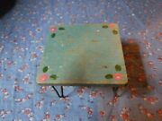 Vintage Wood Metal Table About 1 3/4 Inch High Home Crafted Legs Need Straighten