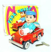 China Ms-884 Willys Jeep Fire Chief Tin Toy Wind-up Car 13cm Mib`76 Top Rare
