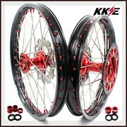 Kke 21/18 Casting Wheels Compatible With Honda Cr125r Cr250r 2002-2013 Discs Red