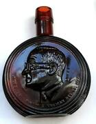 Vintage Wheaton Harry S Truman Presidential 8 Red Glass Decanter Bottle