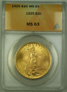 1925 St. Gaudens Double Eagle 20 Gold Coin Anacs Ms-63 B